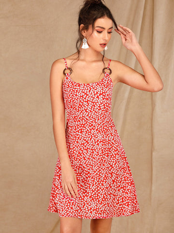 Ditsy Floral O-ring Slip Dress
