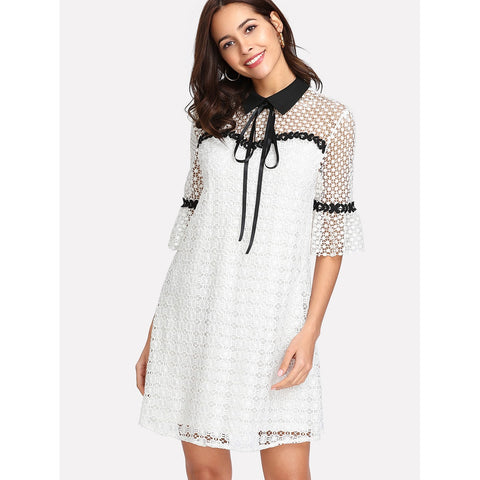 Contrast Collar Guipure Lace Tunic Dress