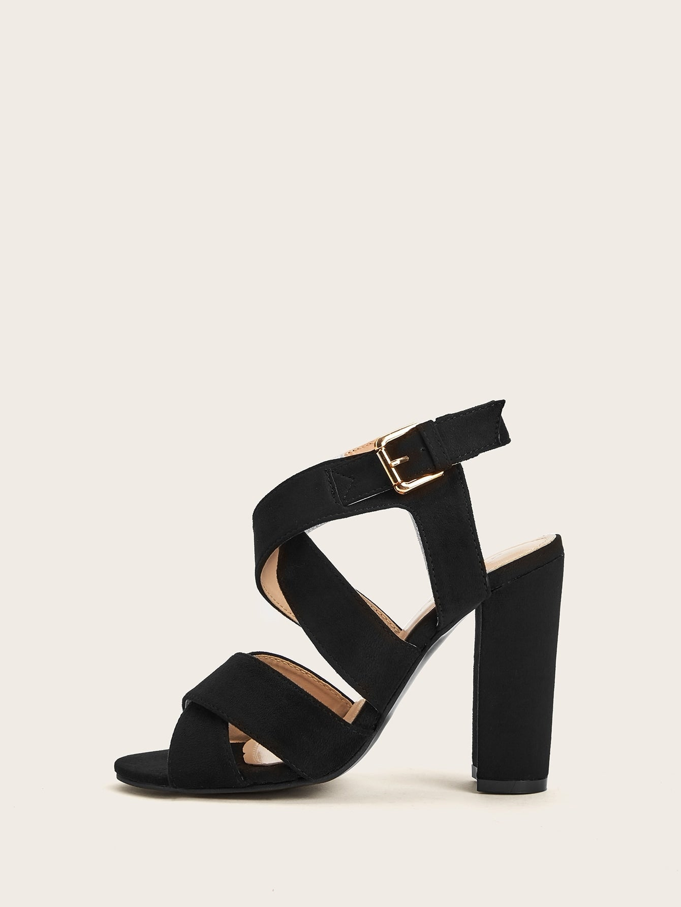 Criss Cross Detail Ankle Strap Heels