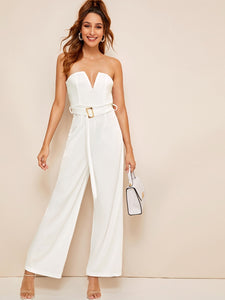 Solid Belted Wide Leg Maxi Tube Jumpsuit