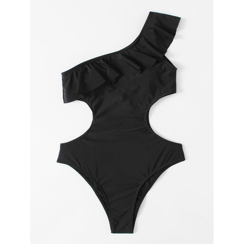 One Shoulder Cut Out Swimsuit BLACK