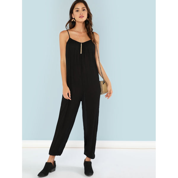 Backless Elastic Hem Cami Jumpsuit