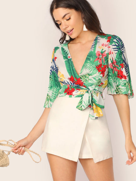 Pleated Sleeve Tropical Floral V-Neck Wrap Top
