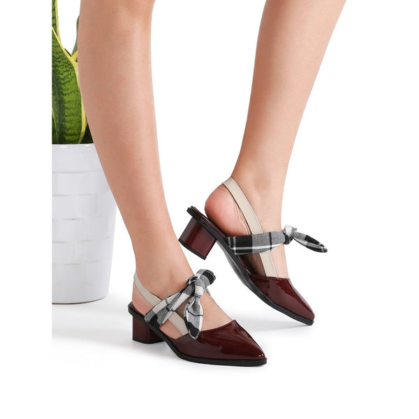 Burgundy Plaid Tie Patent Leather Chunky Heel Pumps - Anabella's