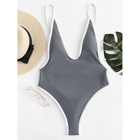 Contrast Piping Low Back Swimsuit GREY
