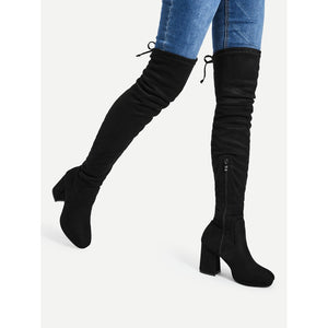Tie Back Over The Knee Heeled Boots - Anabella's
