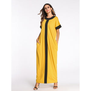 Contrast Binding Hidden Pocket Longline Dress