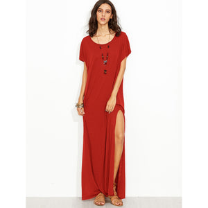 Side Slit Loose Fit Maxi Tee Dress Red