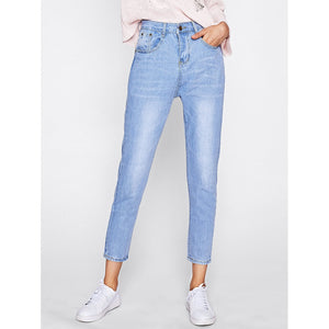 Bleach Wash Straight Jeans