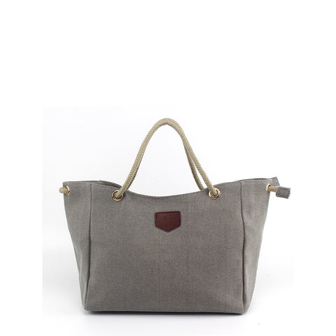 Oversized Canvas Tote Bag Grey