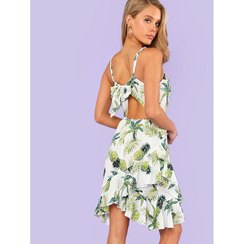 Knot Back Asymmetrical Ruffle Hem Tropical Cami Dress