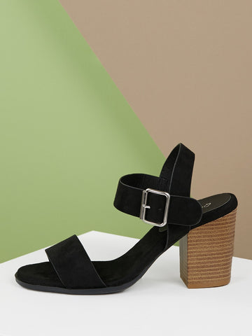 Open Toe Side Buckle Stacked Heel Sandals