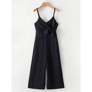 Bow Tie Striped Cami Jumpsuit