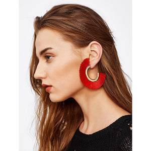 Fringe Detail Fan Shaped Stud Earrings Red