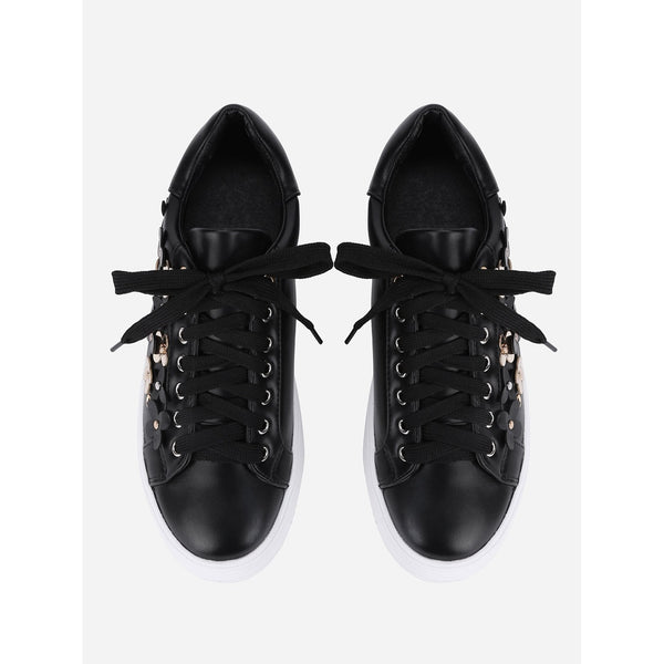 Flower Decorated Lace Up Sneakers - Anabella's