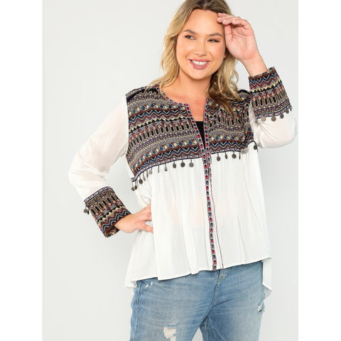 Plus Coin Fringe Trim Embroidered Kimono
