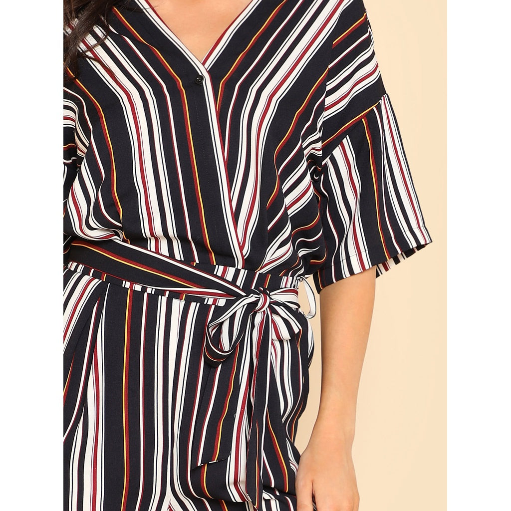 405bd9e3e3b ... Self Belted Striped Wrap Jumpsuit ...