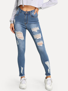 Ripped Raw Hem Faded Wash Jeans