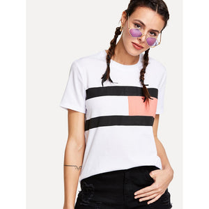 Color Block Short Sleeve Tee White