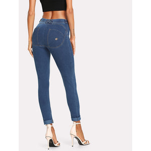Solid Skinny Jeans Blue