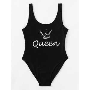 Crown Print Low Back Swimsuit