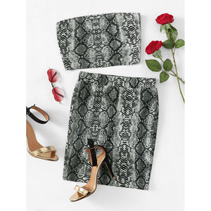 Snake Print Bandeau & Slim Fitted Skirt Set