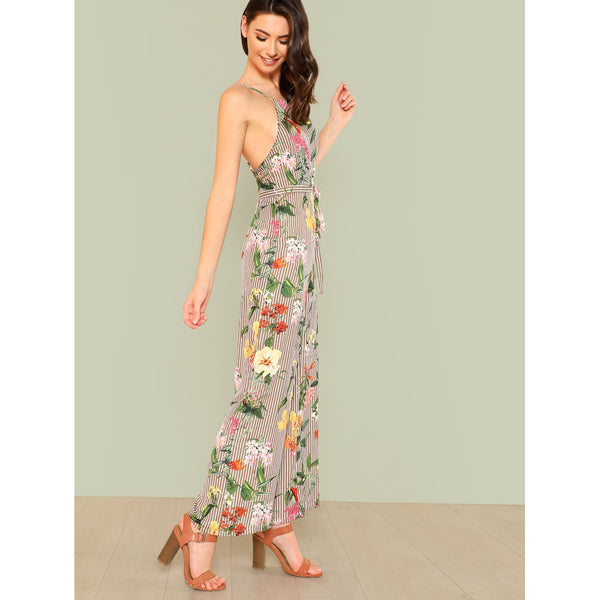 Backless Wide Leg Striped & Floral Jumpsuit