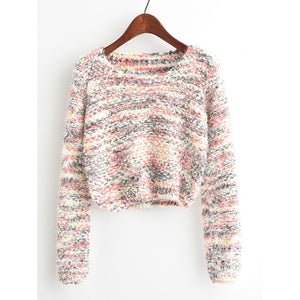 Round Neck Crop Knit Sweater