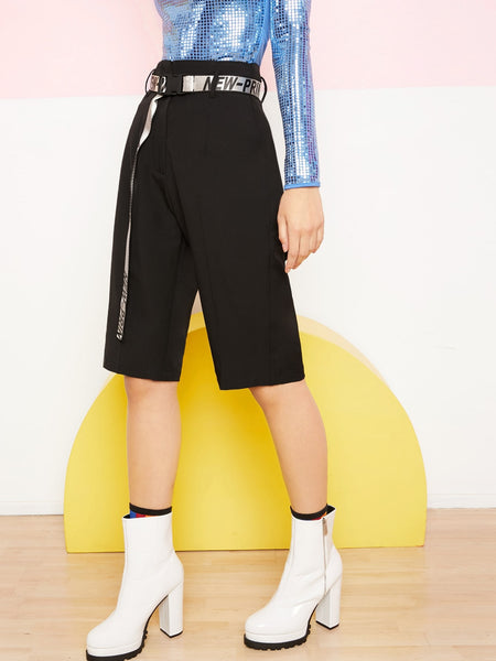 Solid Bermuda Shorts With Letter Buckle Belt