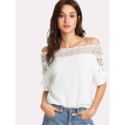 Guipure Lace Panel Bardot Top White