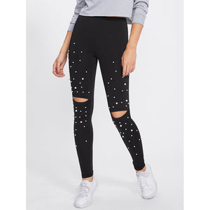 Pearl Beading Knee Open Leggings Black