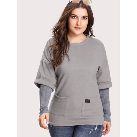 Plus Drop Shoulder Contrast Sleeve 2 In 1 Tee