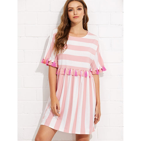 Fringe Trim Striped Dress Pink