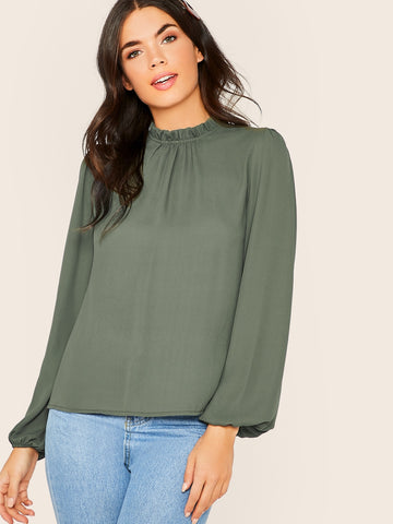 Frill Neck Lantern Sleeve Top