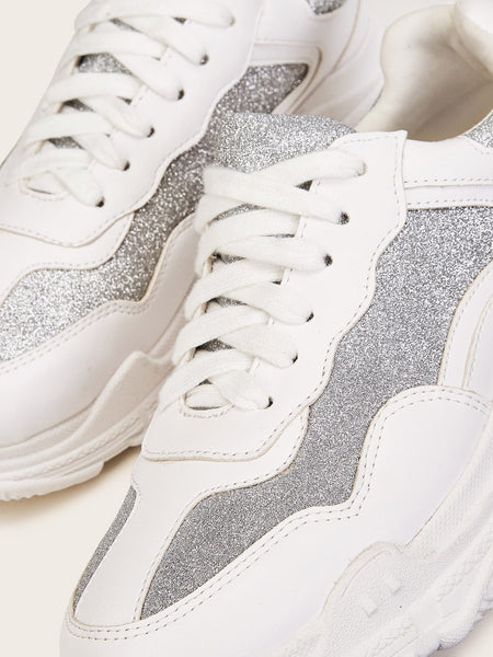 Lace-up Front Glitter Decor Trainers