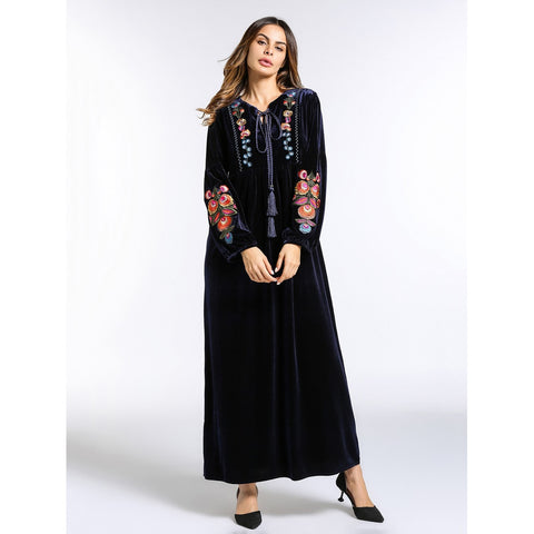 Tassel Tie Neck Embroidery Velvet Dress Navy