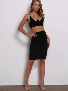 5adc5b9a80 Joyfunear Solid Zip Back Crop Cami Top & Bodycon Skirt Set | Anabella's
