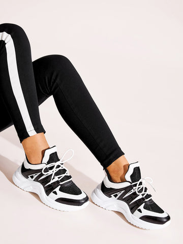 Colorblock Lace-up Chunky Sneakers
