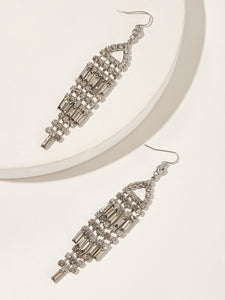 Rhinestone Fringe Drop Earrings 1pair