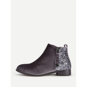 Sequin Flat Velvet Ankle Boots - Anabella's