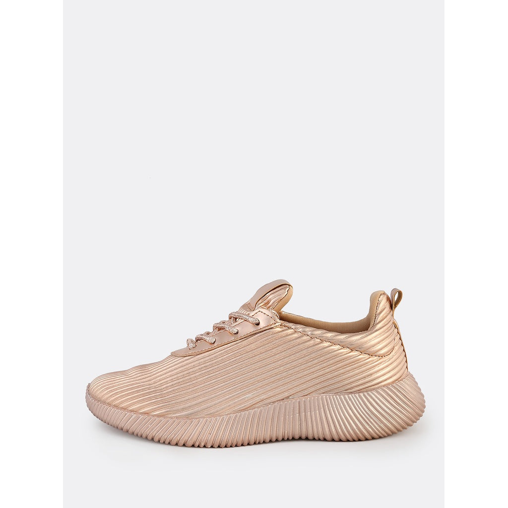 Metallic Lace Up Textured Sneakers ROSE GOLD - Anabella's