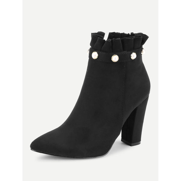 Faux Pearl Ruffle Trim Block Heeled Boots - Anabella's
