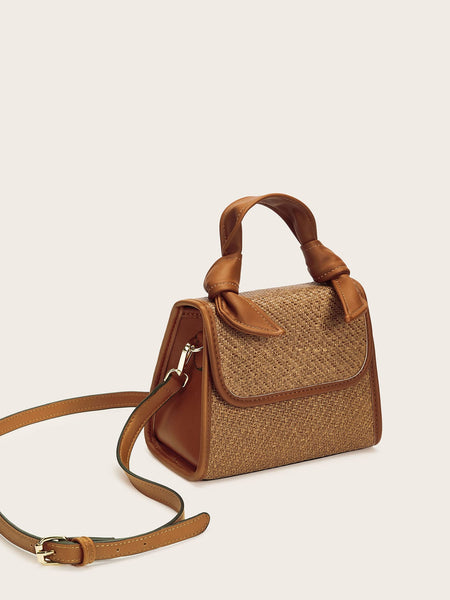 Knotted Detail Woven Satchel Bag