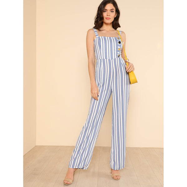 Striped Back Tie Wide Leg Jumpsuit with Button Detail - Anabella's