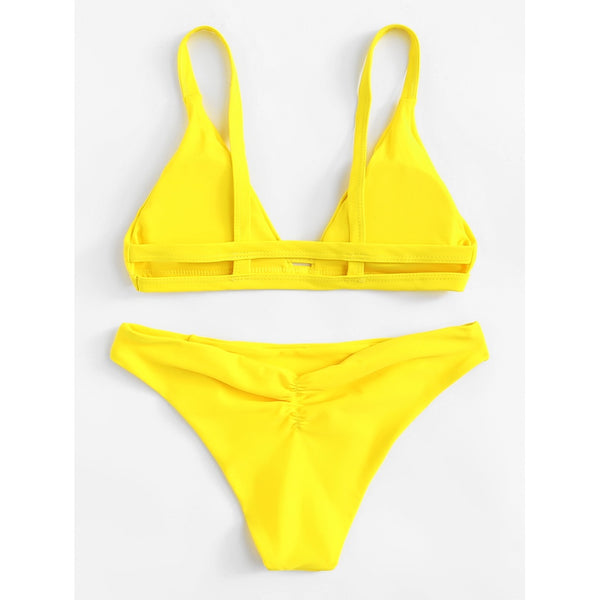 Caged Back Ruched Detail Bikini Set YELLOW