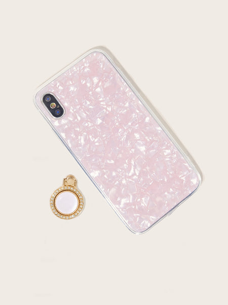 Shell Pattern iPhone Case With Rhinestone Engraved Holder