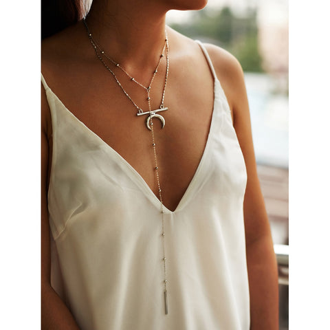 Bar & Moon Pendant Double Layered Lariat Necklace