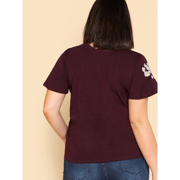 Flower Embroidered T-shirt BURGUNDY - Anabella's