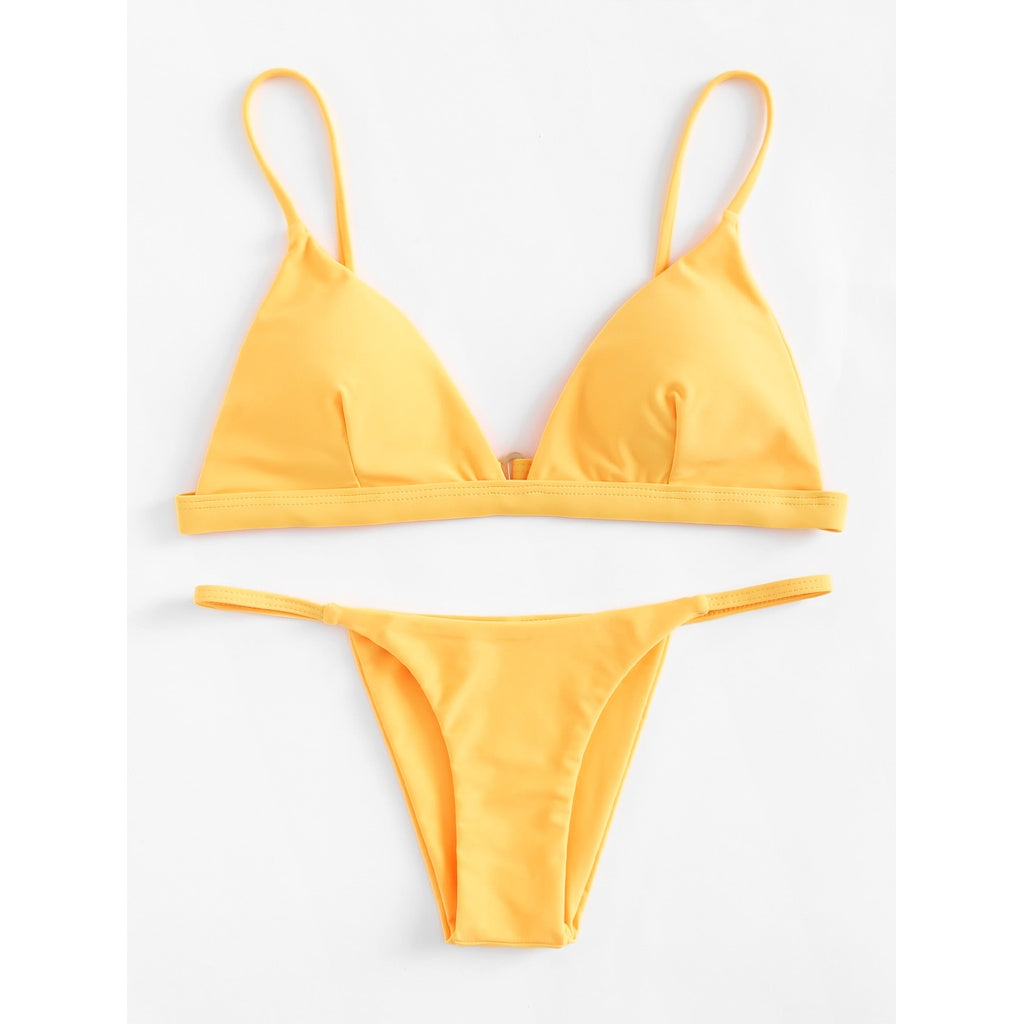 Adjustable Straps Triangle Bikini Set YELLOW
