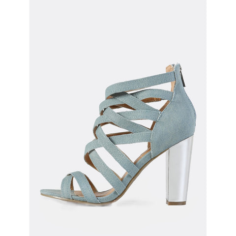 Denim Caged Metallic Heel LIGHT BLUE DENIM - Anabella's